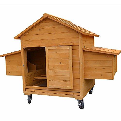 Melko® XXL Hühnerstall Hühnerhaus inklusive Rampe, 157 x 90 x 114 cm, aus Holz, rollbar, 2 Nestboxen - 4