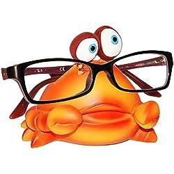 """Brillenhalter - """" lustiger Krebs / Krabbe """" - stabil aus Kunstharz - universal Größe - für Kinder & Erwachsene / Brillenhalterung - lustiger Brillenständer - für Sonnenbrille Lesebrille - Brillenablage - Tier lustig - Deko Figur - Zootier - Zoo / Fisch Unterwasser Tier"""