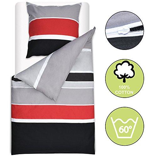 Beautissu Bettwäsche 155x220 cm Delia - gestreift mit Reißverschluss 100% Baumwolle - Bettbezug mit 80x80 cm Kissenbezug