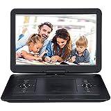 Pumpkin lettore dvd portatile per bambini 15.6 pollici Grande HD Schermo, dvd player portatile auto 6.5 ore autonomia, USB/SD Carta, AV IN/OUT