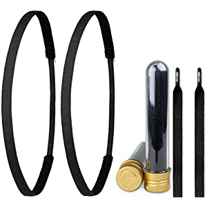 Ivybands ® & IVYLACES ® | Black Edition I | Haarband & Schnürsenkel Set | Schwarz Haarbänder | IVY2X003 ILACE051