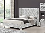 New Stunning Durham Exclusive Luxurious Crushed Velvet And Chenille Wingback Diamante Bed Frame In 6 Beautiful colours By Limitless Base (5ft King, Silver Velvet)