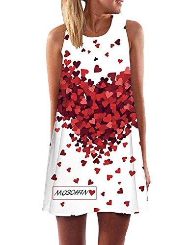 Minetom Damen Sommer Vintage Boho Ärmelloses Sommerstrand Gedruckt Kurzes Minikleid Mädchen Lose Weste Dress T-Shirt Tops Kleider Herz DE 38 (Damen-t-shirt Herz)