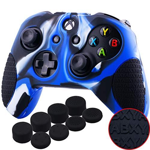 YoRHa Espesado Caucho de Silicona Funda Skin Case Carcasas Piel Agarre de Masaje con letras 3D para Xbox One S / X Mando Controller x 1 (Camuflaje Azul) Con Agarres para el Pulgar x 8