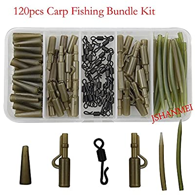 JSHANMEI ® 120pcs/box Carp Fishing Tackle Kit Bundle Safety Lead Clips Quick Swivel Anti-Tangle Sleeve Kit by JSHANMEI