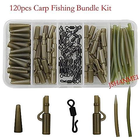 jshanmei® 120pcs/Boîte de pêche à la carpe Tackle Boîte de clips de sécurité plomb rapide pivotant à manches Anti-Tangle Kit