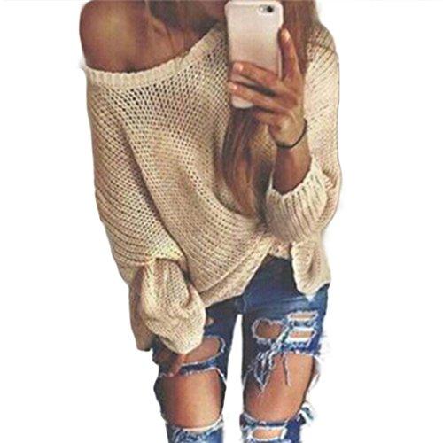 Pullover Damen Strickjacke Sweatshirt Top Blouse Ronamick Schulterfrei Loose Knitwear Loose Knitwear Lange Ärmel Stricken Einfarbig casual Outwear (S) (Raglan-Ärmel Rosa)