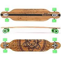 MAXOfit® Deluxe Longboard GeoLines bambù/acero No.40, Drop Through, 107 cm, 7 stratti, ABEC11 - Azione Longboard Skateboard