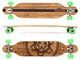 MAXOfit® Deluxe Longboard GeoLines Bambus/Ahorn No.40, Drop Through, 107 cm, 7 Schichten, ABEC11
