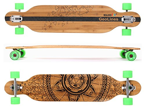 MAXOfit Deluxe Longboard GeoLines bambù/acero No.40, Drop Through, 107 cm, 7 stratti, ABEC11