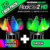 Twin Pack – rockstix2 HD LED Light Up Drum Sticks 1 Pair COLOUR CHANGE + 1 Pair GREEN