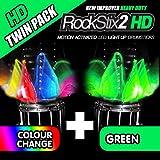 Twin Pack–rockstix2HD LED Light Up Drum Sticks 1 Pair COLOUR CHANGE + 1 Pair GREEN