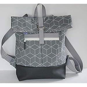 grauer Rucksack Backpack Kurierrucksack mit weißem Muster
