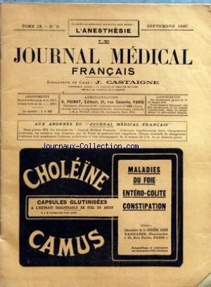 JOURNAL MEDICAL FRANCAIS (LE) [No 9] du 01/09/1920