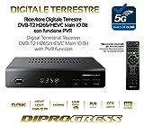 DECODER DVB-T2 HEVC H265 10 bit PVR CON TELECOMANDO UNIVERSALE 2 in 1 DiProgress DPT203HD