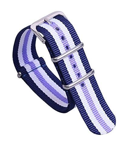 22mm de style bleu / blanc / violet luxe NATO nylon durable occasionnels bandes de bracelets de montre remplacements pour les hommes