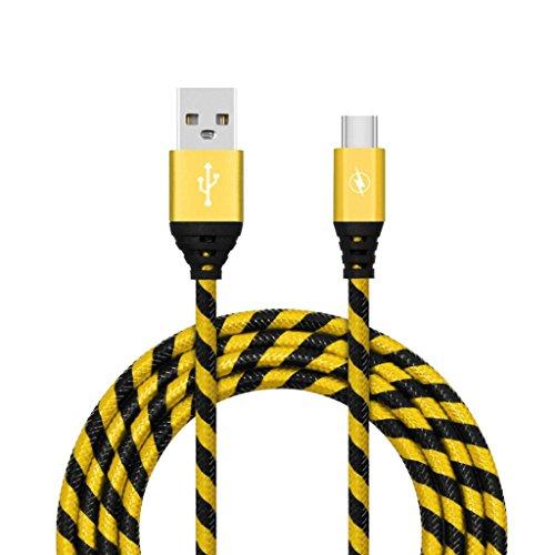 kingko 1M 2M 3M 2A geflochtenes Aluminium USB-C USB 3.1 Typ C Daten Sync schneller Ladegerät Kabel für Samsung Galaxy S8 Unterstützung Skalierbare Stromversorgung (Gelb) (Nexus Stromversorgung)