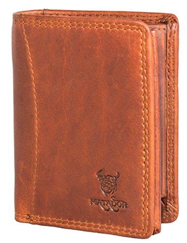 MATADOR RFID Kompakt Klein Geldbörse ECHT Leder Geldbeutel Portmonee Brieftasche Antik Braun