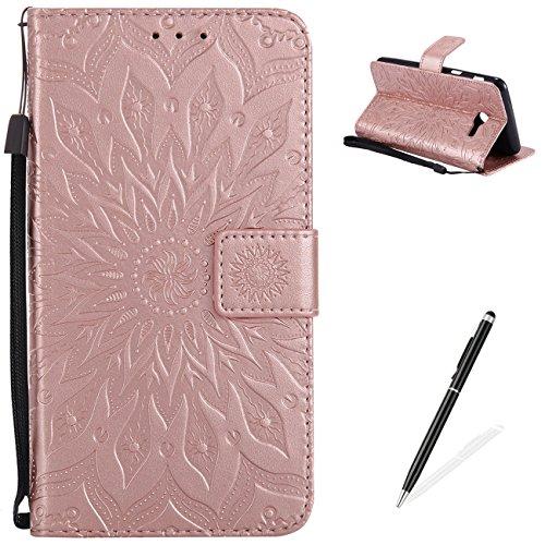 Samsung Galaxy J5(2017)/J520 Custodia MAGQI Portafoglio PU Cuoio Copertina Rilievo Mandala Girasole Flip libro Guscio Sottile di Protettivo Della pelle con Magnete Carta di Chiusura Slot - Oro rosa