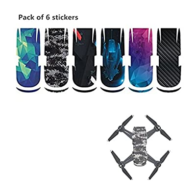 Hensych Pack of 6 Stickers - PVC Waterproof Sticker Decal Skin Cover for DJI Spark Drone