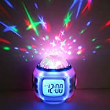 #9: Alarm Clock Music / Colorful Starry Sky Stars with Date / Week / Calendar / Temperature / Countdown Function (white)