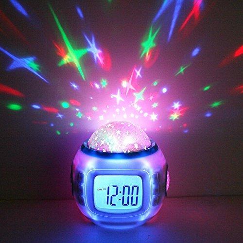 Premium Wecker & LED Sternenhimmelprojektor (digital) 10 Melodien - Uhr Nachtlicht Einschlafhilfe für Baby & Kinder - Dekolampe Deko Lampe Leuchte Dekoleuchte Sternenhimmel Mond und Sterne Projektor