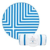 Round Beach Towel (Blue – Cross Design – 190cm) – includes carry bag, round towel holder, sand free beach towel