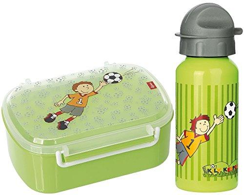 Sigikid Brotdose 24781 und Trinkflasche Fußball Kily Keeper 24795 Geschenkset für Kindergartenkinder oder ABC Schützen