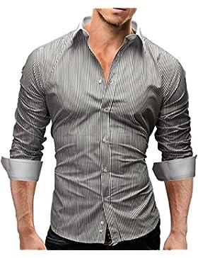 Merish Camicia Uomo , a righe, Camicia classiche, Slim Fit 5 Colori Taglia S - XXL Modell 43