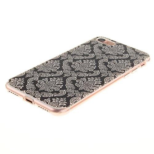 Ooboom® iPhone 8/iPhone 7 Hülle TPU Silikon Gel Ultra Dünn Schutzhülle Handy Tasche Case Cover für iPhone 8/iPhone 7 - Don't Touch My Phone Totem Blume Schwarz