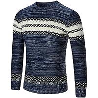Hommes Sweatshirt, Moonuy Pull tricoté d'automne d'hommes d'hiver Slim Fit pull manches longues Pull patchwork tricots blouse usure