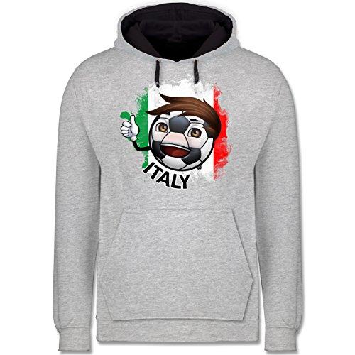 Fußball - Fußballjunge Italien - Kontrast Hoodie Grau meliert/Dunkelblau