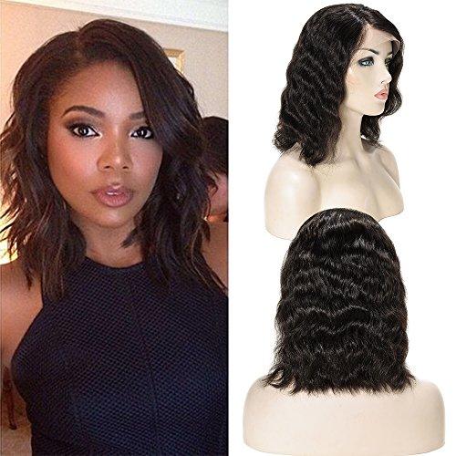 Perruque Bresilienne Bob Lace Front Wig Vrai Cheveux Humain Femme Ondulé Wavy Noir naturel - 10 Pouces 25cm