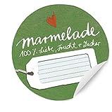 24 runde Aufkleber Marmelade, 100% Liebe, Frucht & Zucker! Schöne grüne Marmeladenetiketten für selbstgemachte Marmelade und für Einmachgläser, MATTE Papieraufkleber zum Verzieren und Verschenken