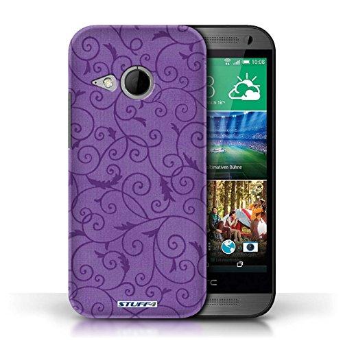 Kobalt® Imprimé Etui / Coque pour HTC One/1 Mini 2 / Orange conception / Série Motif de la vigne Pourpre