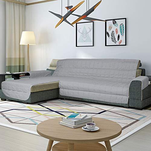 Simplicity Plus Copridivano Salvadivano idrorepellente e antimacchia, adatto per PENISOLA (chaise longue) sia a destra che sinistra (190 cm, Grigio Chiaro). Colori certificati OEKOTEX
