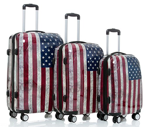517WMrjL4lL - Maleta de viaje 2060,rígida, en 12 motivos, XL, L, M America 3er Set(XL+L+M)