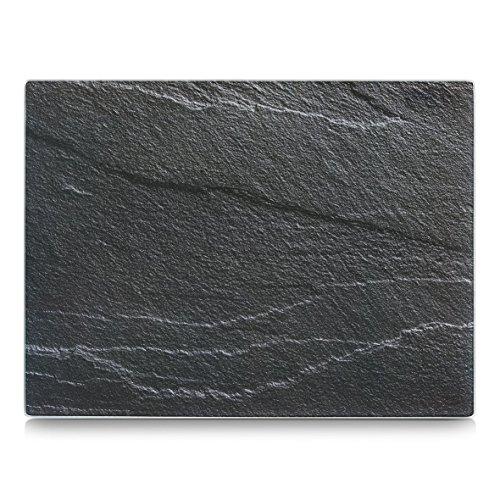 Glas Schneideplatte, Motiv Schiefer anthrazit, von Zeller, Küchen Schneidebrett, in 2 Größen lieferbar, Servierbrett, Servierplatte (groß 40x30cm)