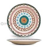 YUWANW Handbemalte Keramik Teller Geschirr Kreativ Home M Reis Funktionelle Keramik Glasiert Mit Farbigen Dicke Besteck, 21,5 cm Flache Tastatur (Sesame Glasur)