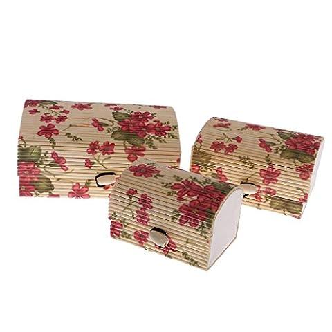 3pcs Bambus Geschenk Box Set Schmuck Schachtel Dose Deko - große Blume