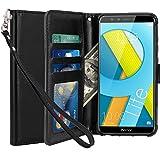 Coque Huawei Honor 9 Lite, LK Housse Coque Protecteur Clapet Portefeuille Cuir PU Luxe avec Fentes et Support de Carte pour Huawei Honor 9 Lite - Noir