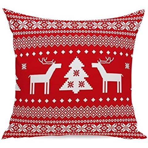 Malloom® Federa Cervi Di Natale Copertura Del Cuscino Morbido Tiro Decorativo
