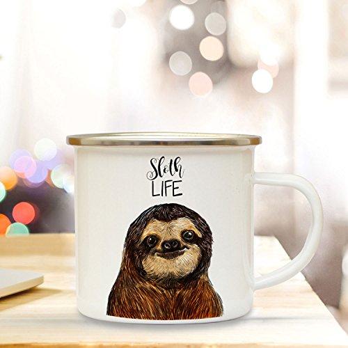 Emaille Tasse Becher mit Faultier & Spruch Kaffeebecher Camping Becher mit Motto Spruch sloth life eb32 ilka parey wandtattoo-welt®