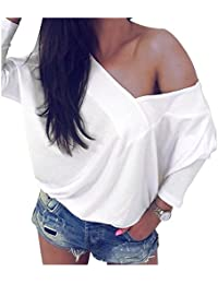 SODIAL(R) Women's Sexy Deep V Neck Spring Autumn T Shirt Ladies Long Sleeve Casual Loose Fashion Blouse Party Tops Tee Shirt(White, S/US-4/UK-8)