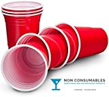 Ruby Apple Red American Party Cups - 16oz (455ml) - Disposable Party Cups - Packs of 50 or 100 (50)P