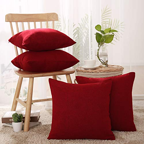 Deconovo Set of 4 Textural Faux Linen Hand Made Square Pillow Case Cushion Covers for Christmas 18 x 18 Inch Red
