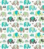 Elefanten Türkis 100% Baumwolle Baumwollstoff Kinderstoff