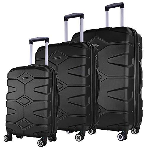 SHAIK SERIE RAZZER SH002 3-tlg. DESIGN RAZZER Hartschalen Kofferset, Trolley, Koffer, Reisekoffer, 4 Doppelrollen, 25% mehr Volumen durch Dehnfalte (Schwarz)
