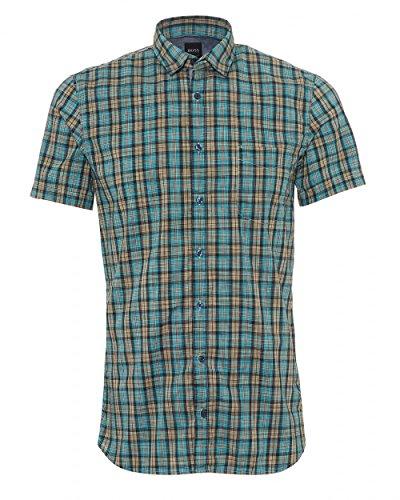 Boss Orange Hugo Mens Cattitude 1 Short Sleeved Shirt, Small Check Aqua Orange Shirt