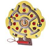 Penna magnetica guida in legno labirinto di perline puzzle di Natale regalo per bambini (albero giallo)